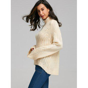 Drop Shoulder Turtleneck Sweater with Stripy - PALOMINO XL