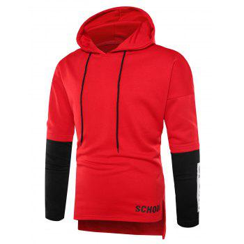 Graphic Print Color Block Side Slit Hoodie - RED L