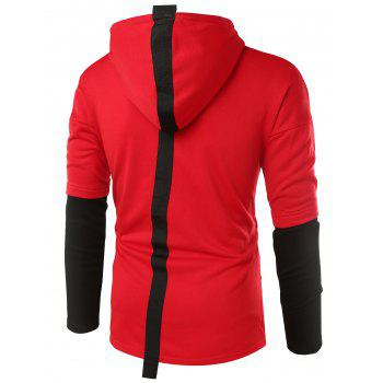 PU Leather Applique Braid Embellished Hoodie - RED M