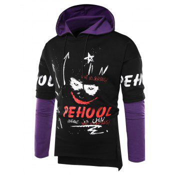 Color Block Scrawl Graphic Print Hoodie - BLACK M