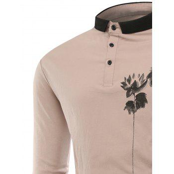 Buttons Lotus Print Polo T-shirt - 3XL 3XL
