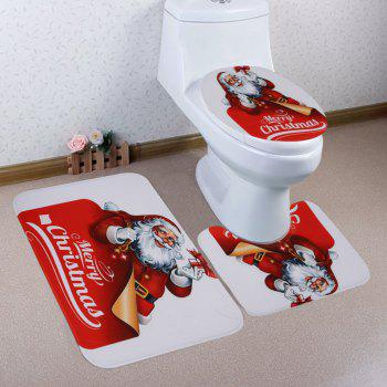 Christmas Santa Gifts Pattern 3 Pcs Bathroom Toilet Mat - RED RED