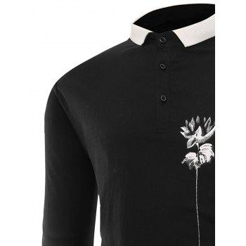 Buttons Lotus Print Polo T-shirt - BLACK XL