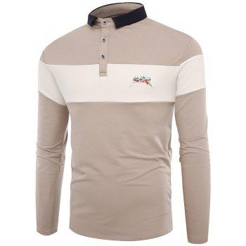 Color Block Embroidered Buttons Polo T-shirt - APRICOT 3XL