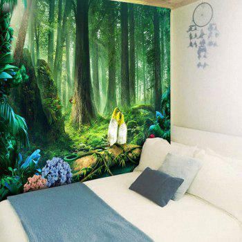 Beautiful Original Forest Printed Wall Art Tapestry - GREEN GREEN