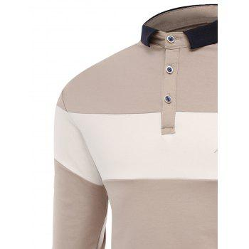 Color Block Embroidered Buttons Polo T-shirt - APRICOT L