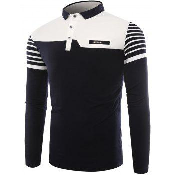 Color Block Stripe Buttons Polo T-shirt - ROYAL ROYAL