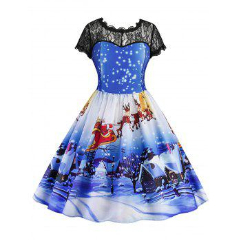 Christmas Printed Lace Panel Vintage Dress - BLUE BLUE