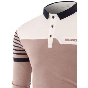 Color Block Stripe Buttons Polo T-shirt - APRICOT 3XL