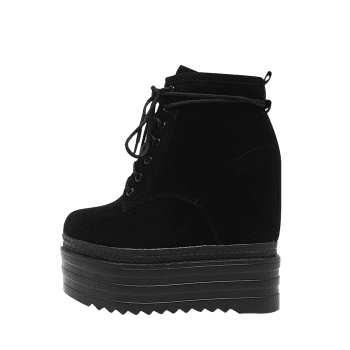 Platform Tie Up Ankle Boots - BLACK 39/7.5