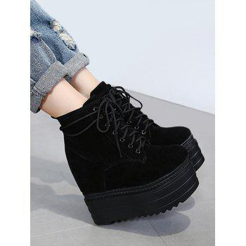 Platform Tie Up Ankle Boots - BLACK BLACK