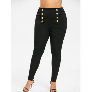 Plus Size Double Breasted Skinny Pants - BLACK 2XL