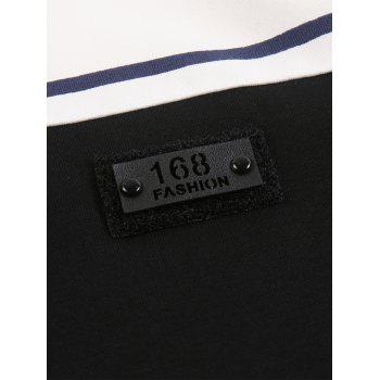 Color Block Applique Buttons Polo T-shirt - BLACK 2XL