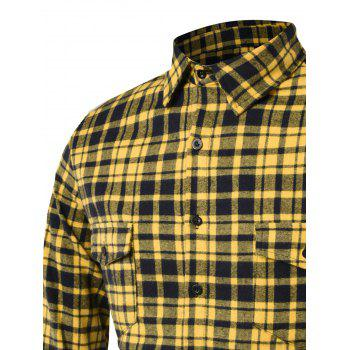 Longline Tartan Cargo Shirt - YELLOW 2XL