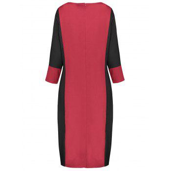Plus Size Two Tone Work Dress - RED RED