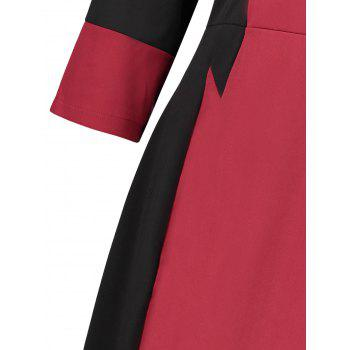 Plus Size Two Tone Work Dress - RED 4XL