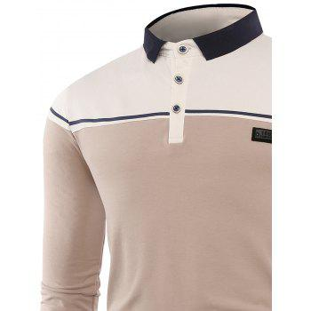 Color Block Applique Buttons Polo T-shirt - APRICOT APRICOT