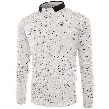 Splatter Paint Long Sleeve Polo T-shirt - WHITE L