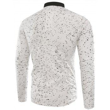 Splatter Paint Long Sleeve Polo T-shirt - WHITE XL