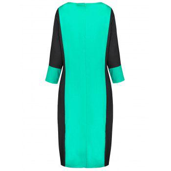 Plus Size Two Tone Work Dress - MINT GREEN 6XL