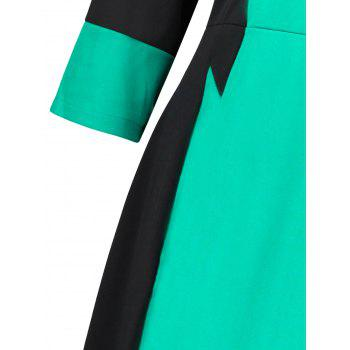 Plus Size Two Tone Work Dress - MINT GREEN 4XL