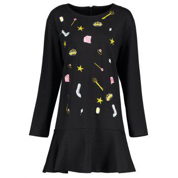 Plus Size Cute Embroidered Drop Waist Dress - BLACK 2XL