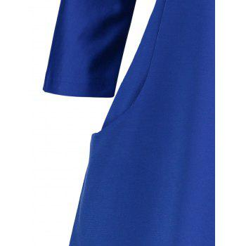 Plus Size Fitted Dress with Pockets - BLUE 3XL