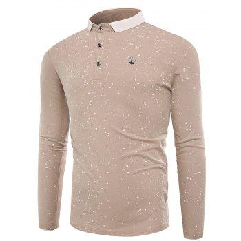 Splatter Paint Long Sleeve Polo T-shirt - APRICOT L