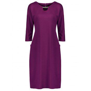 Plus Size Fitted Dress with Pockets - PURPLE 5XL