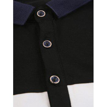 Color Block Embroidered Buttons Polo T-shirt - BLACK 2XL