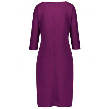Plus Size Fitted Dress with Pockets - PURPLE 3XL