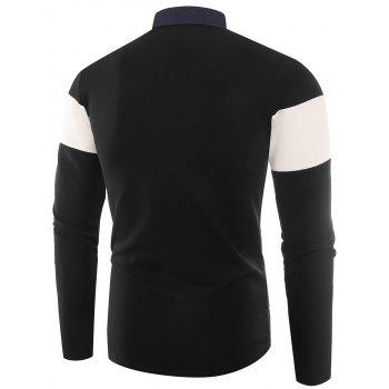 Color Block Embroidered Buttons Polo T-shirt - BLACK 3XL