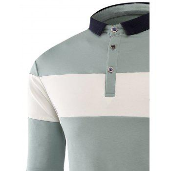 Color Block Embroidered Buttons Polo T-shirt - LIGHT BLUE 3XL