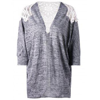 Plus Size Crochet Lace Panel Cardigan - GRAY 5XL
