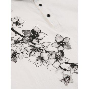 Florals Print Buttons Polo T-shirt - 2XL 2XL