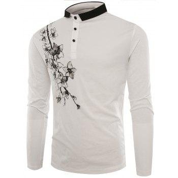 Florals Print Buttons Polo T-shirt - WHITE 3XL