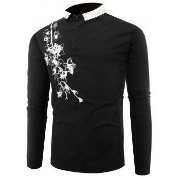 Florals Print Buttons Polo T-shirt - BLACK BLACK