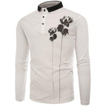 Buttons Lotus Print Polo T-shirt - WHITE 2XL