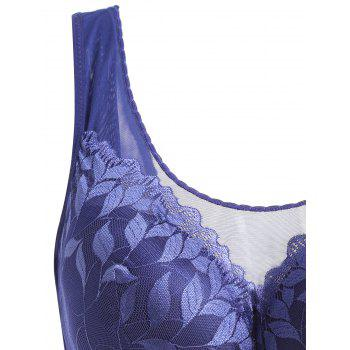 Plus Size Leaf Lace Padded Wirefree Bra - BLUE 3XL