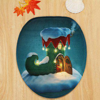 Christmas Boot House Pattern 3 Pcs Bathroom Toilet Mat -  COLORMIX