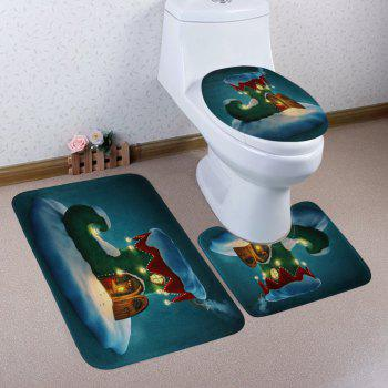 Christmas Boot House Pattern 3 Pcs Bathroom Toilet Mat - COLORMIX COLORMIX