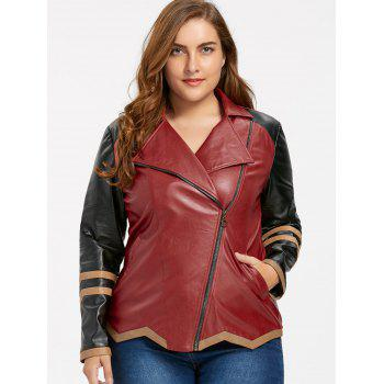 Faux Leather Plus Size Color Block Jacket - WINE RED XL