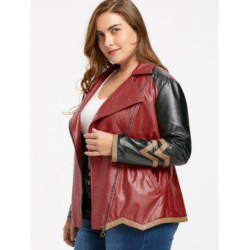 Faux Leather Plus Size Color Block Jacket - WINE RED 3XL