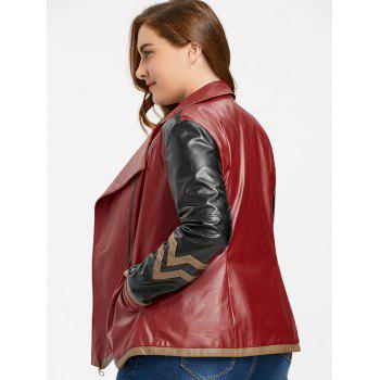 Faux Leather Plus Size Color Block Jacket - WINE RED WINE RED