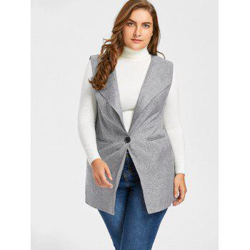 Plus Size One Button Pocket Waistcoat - 4XL 4XL