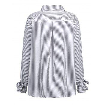 Plus Size Bowknot Vertical Stripe Shirt - WHITE WHITE