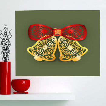 Multifunction Christmas Bells Cut Print Wall Art Painting - RED + GREEN + YELLOW 1PC:24*47 INCH( NO FRAME )