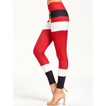 Christmas Color Lump Tight Leggings - RED XL