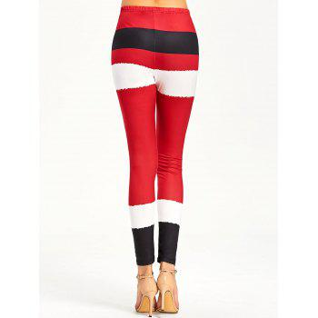 Christmas Color Lump Tight Leggings - RED 2XL