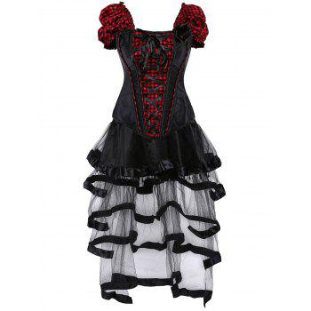 Gothic Checked Lace Up Corset with Sheer Skirt - RED WITH BLACK S